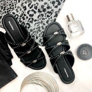 Mara & Mine Black Studded Leather Slide Sandals